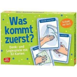 Was kommt zuerst? - Denk- und Legespiele mit 32 Karten für Kinder von 3 bis 8