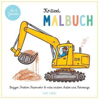 Kritzel Malbuch - Bagger, Traktor, Feuerwehr und viele andere Autos und Fahrzeuge - ab 2 Jahre